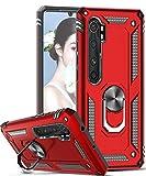 LeYi Coque pour Xiaomi Mi Note 10 Lite avec Aimant Anneau Support, Militaire Double Couche Renforcée Défense Bumper TPU Silicone Antichoc Armure Protection Housse Etui Xiaomi Mi Note 10 Lite Rouge