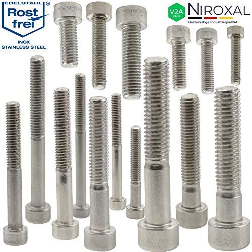Edelstahl Zylinder-Schraube rostfrei V2A M6-mm stark 40-mm Schrauben-Länge 10 Stück 24-mm Teil-Gewinde Innensechskant M6x40