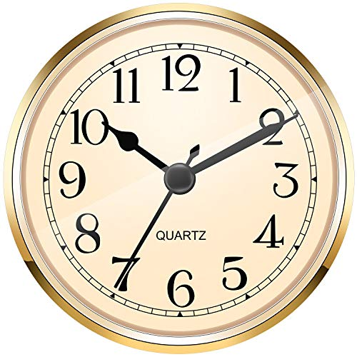Hicarer 3-1/2 Inch (90 mm) Gold Quartz Clock Fit-up/Insert with Arabic Numeral