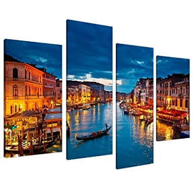 Wallfillers Venice Wall Art Decor Canvas Pictures for Living Room Bedroom - Blue - 51  Wide - 4068 Framed Ready to Hang