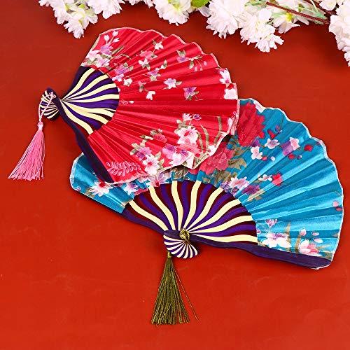 weichuang Abanico plegable clásico y plegable, delicado y único adorno de abanico, regalo pequeño para mujer (color: marrón y blanco, tamaño del ventilador: 28 x 22 cm)