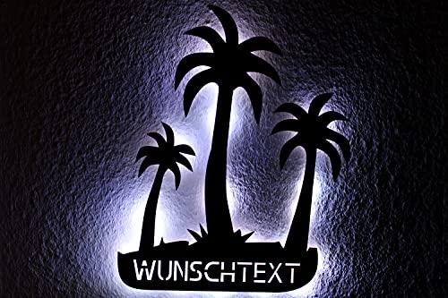 Luz LED de Schlummerlicht con tres palmeras, personalizable, con grabado láser, luz nocturna para dormitorio, salón, regalo