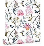 Papel pintado de vinilo para pared con diseño de flores y pájaros, papel de pared con textura y adhesivo extraíble