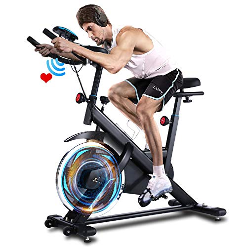 ANCHEER Indoor Cycling Bike Stationary, Belt Drive Exercise Bike with Comfortable Seat Cushion, Workout Bikes with Magnetic Resistance and LCD Monitor for Home Exercise