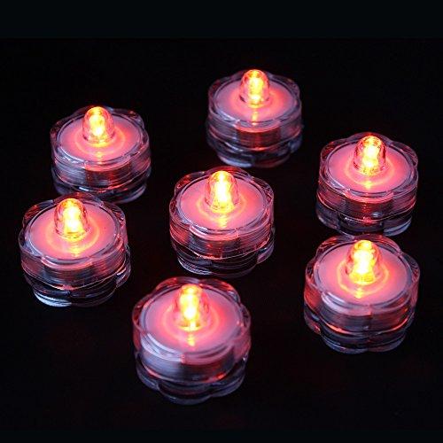 Preisvergleich Produktbild Ardux 12 LED-Tauch-Teelichter,  wasserfest,  flammenlos,  für Hochzeit,  Party,  Blumen,  Zuhause,  Außenteich,  Vase,  Dekoration rot