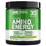 Optimum Nutrition Amino Energy Pre Workout en Polvo, Bebida Energética con Beta Alanina, Vitamina C, Cafeína, Aminoacidos Incluyendo BCAA, Lima Limón, 30 Porciones, 270g, Embalaje Puede Variar
