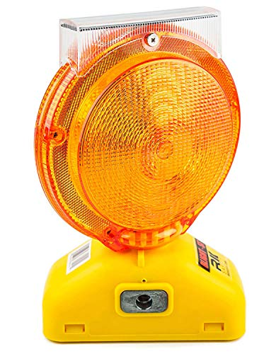 (Set of 12) RK Safety Blight-ST Solar Rechargeable Barricade Amber LED Warning Lights | Traffic Signal Flashing 2-Sided Visibility, Type A/C, 3-Way Operation Switch | W/Switch Pin and Bolt