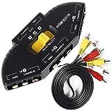 HONONJO AV Switch Box 3 Way Superior Quality Outlets Converter and RCA Cord Video Audio AV Switcher Selector AV-33 Black