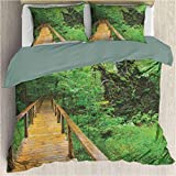 Funda nórdica de Cama de Tres Piezas Forest Trail Wood Trail en Fresh Forest Jungle After The Rain E...