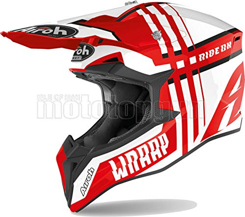 Casco de moto Airroh WRBR55 Off-ROAD Road, talla M, color rojo brillante