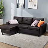 Esright Small Faux Leather Sectional Sofa Couch 3 Piece Living Room Small Convertible Couch Black Coffee Faux Leather L-Shape Couch with Chaise Lounge for Small Space Apartment