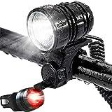Leynatic LED Lumière de Vélo Kit, USB Rechargeable Lampe Vélo Étanche Super-Brillante Lumineux Puissant 1200 LM Eclairage Velo VTT Batterie et Sets D'éclairage Avant et Arrière