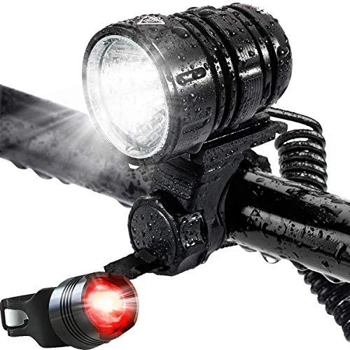 Leynatic Luce LED per Bici, USB Luci per Bicicletta Ricaricabili Lampada Frontale Luminosa a 1200 Lumen con Batteria - 4 modalità