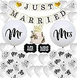 Just Married Hochzeit Deko Set, TELIYE 46 Stück Luftballons Hochzeit, MR und MRS Ballons Hochzeitsdeko Luftballon und Girlande Banner Just Married Ballon für Party Brautpaar Dekoration Auto