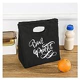 HMGANG Lunch Bag Profitez de Votre Repas Sacs de Perforation Poinch-Capacité Pliable High Capacité Pochette Funny School Office Boîte Thermique Harajuku Femmes Sacs à Main (Color : Q02396-TBBK-C)