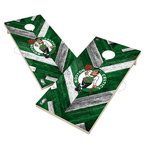 Victory Tailgate Boston Celtics Solid Wood 2x4 Cornhole Board Set Herringbone Design
