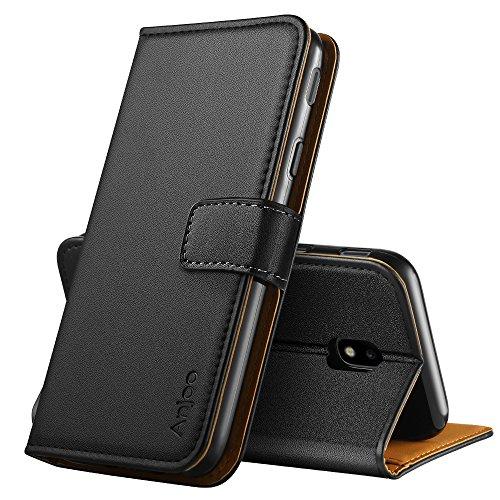 Anjoo Coque Compatible pour Samsung Galaxy J3 2017, Housse en Cuir avec Magnetique Premium Flip Case Portefeuille Etui Compatible pour Samsung J3 2017, Noir