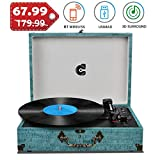 Record Player with Speakers Vinyl Record Player Wireless Turntables for Vinyl Records Suitcase...