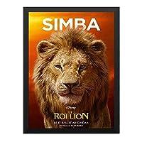 ハンギングペインティング - ライオンキング Lion King シンバ ディズニー 4のポスター 黒フォトフレーム、ファッション絵画、壁飾り、家族壁画装飾 サイズ:33x24cm(額縁を送る)