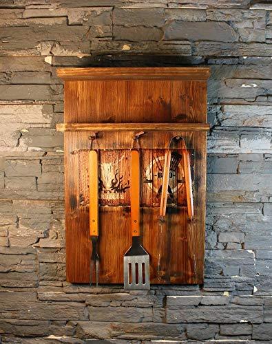 Jagdaktiv kruidenrek massief hout met 3-delig grillbestek met twee motieven & branding