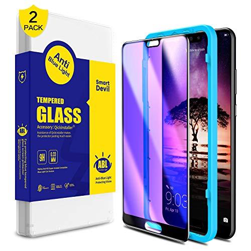 SmartDevil für Huawei P20 Panzerglas Schutzfolie [2 Stück], Anti Blaulicht Schutzfilm, 9H Härte, Anti-Kratzen,[3D Vollständige Abdeckung] [Anti-Fingerabdruck] Displayschutzfolie für Huawei P20