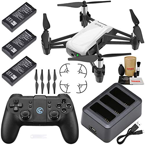Tello Drone Quadcopter Boost Combo Bundle with 3 Batteries, Charging Hub, GameSir T1 Remote Controller and Must Have Accessories (5 Items)