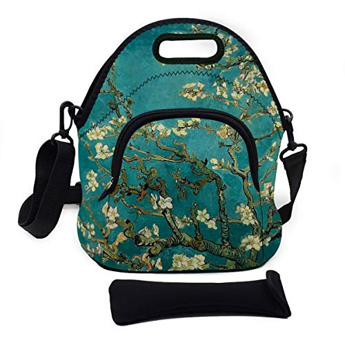 Multipurpose Neoprene Lunch Bag Kit, VIPbuy Soft Insulated Thermal Lunch Boxes Container Tote Large with Detachable Adjustable Shoulder Strap, Pocket, Zipper (Almond Blossoms)