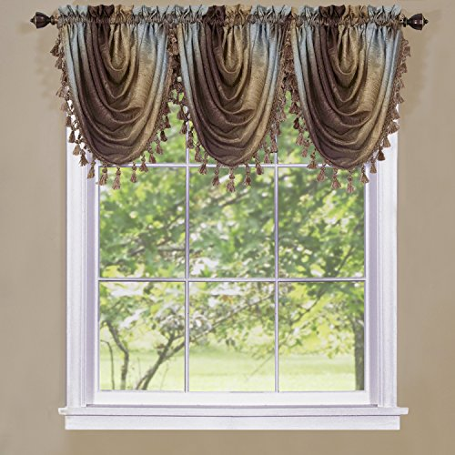 """Achim Home Furnishings OMWFVLCH06 , Chocolate Ombre Waterfall Valance, 46"""" x 42"""""""