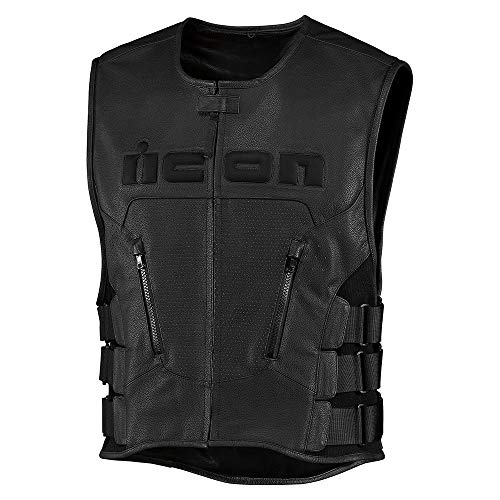 Icon Weste Regulator D3O Vest schwarz Lederweste mit Rückenprotektor, L/XL