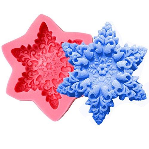 +ing Navidad copo de nieve jabón molde fondant molde de silicona molde...