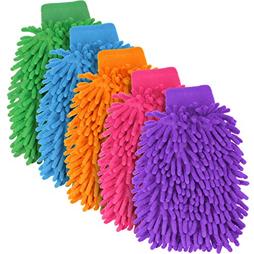 BBTO 5 Pieces Car Wash Mitts Chenille Microfiber Wash Glove Double Sided Scratch-Free Wash Mitt, 5 Colors