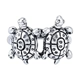 Yellow Chimes Tortoise Couple Good Luck Charm 925 Sterling Silver Hallmark and Certified