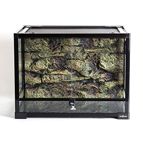 "REPTI ZOO 34 Gallon Large Reptile Glass Terrarium Tank with Foam Backgrounds,Double Hinge Door with Screen Ventilation Reptile Terrarium 24"" x 18"" x 18""(Knock-Down)"