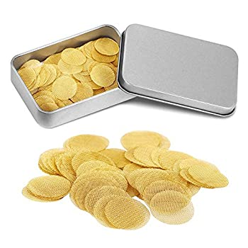 150 Pieces Brass Pipe Screens 3/4 Inch  0.75   Pipe Screen Filters Premium Screens for Smoking Pipes with Storage Box