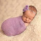 ZUMUii Butterme Bebé Recién Nacido Soft Stretchy Envuelto De Punto Bebé Foto Fotografía Accesorios(Lavanda)