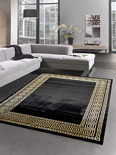 CARPETIA Teppich Wohnzimmer mit Bordüre im Mäander Muster schwarz Gold Größe 120x170 cm