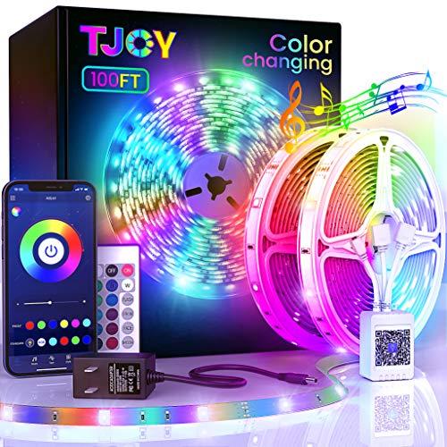 100ft Bluetooth LED Strip Lights, SMD5050 Music Sync LED Lights Strip, RGB Color Changing LED Lights with Remote,Smart Phone APP Control, LED Lights for Bedroom,TV,Room DIY (APP+Remote +Mic/50ftx2)