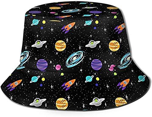 BONRI Sombrero de Pescador Unisex con diseño de Planetas Dibujados a la Moda, Gorra de Pescador Plegable UV, Negro