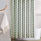 Vangao Sage Green Shower Curtains Geometric Arrow Fabric Shower Curtains Set for Bathroom Decor 70 X 72 Inches Waterproof Washable Zigzag Chevron Bath Shower Curtain with 12 Hooks