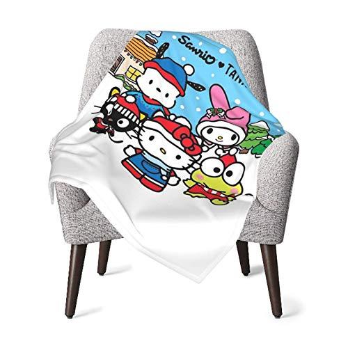 Hello-Kitty-It's Snowing - Manta para bebé de felpa súper suave de poliéster cálida para niña y niño acogedora manta para cuna, cochecito