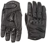 Short Black Leather Harley Style Cruiser Gloves Thermal with Hipora Waterproof Liner
