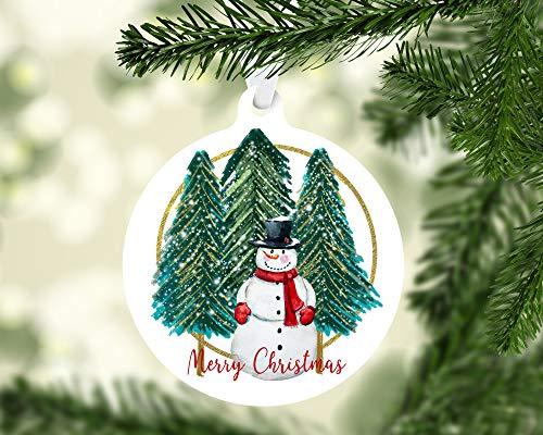None-brands - Adorno de Navidad para árbol de Navidad, diseño de muñeco de nieve y árboles, diseño de Navidad