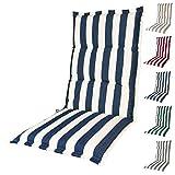 KOPU Auflage für Hochlehner Mila Blue | Polster für Gartenstühle | blau Garten Kissen 125 x 50 cm | 5 Gestreifte Robuster Schaumstoff für zusätzlichen Komfort