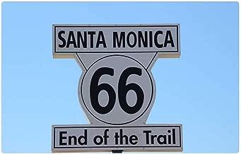 Indoor Floor Rug/Mat (23.6 x 15.7 Inch) - Santa Monica 66 End of The Trail Highway Sign