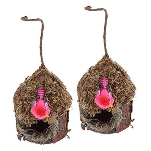 PETSOLA 2 Stück Vogelhaus für Rotdrossel/Bergfink/Buchfink Vogelnest, tolle Hingucker im Garten