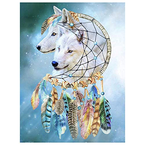Darmeng DIY 5D Diamond Painting White Wolf Dreamcatcher, Animal Beast Feather Full Drill Kits Round Drill Paint with Diamonds Art Diamond by Number Kits Craft Canvas for Home Wall Decor 12x16 inch