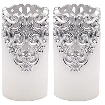 DRomance Hollow Silver Flameless Flickering Candles with 5H Timer Battery Operated LED Pillar Candles Unscented Wax Warm Light Christmas Home Decoration Set of 2 3 x 6 Inches