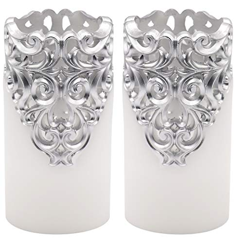 Eldnacele Hollow Vintage Silver Flameless Flickering Candles with 5H Timer, Battery Operated Real Wax Pillar Candle for Wedding Party Home Christmas Decoration, Set of 2