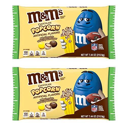 M&M'S Milk Chocolate Popcorn Candy 7.44oz! Milk Chocolate With Crisp Rice Center! Crispy Chocolate Popcorn Flavored Candies! Delicious Crunchy Chocolate...