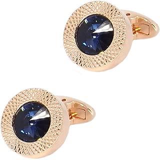 Sapphire Blue Crystal Gem in Rose Gold Men Gift Cufflinks